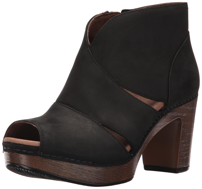 Dansko Women's Delphina Ankle Bootie, Black Milled Nubuck, 38 EU/7.5-8 M US