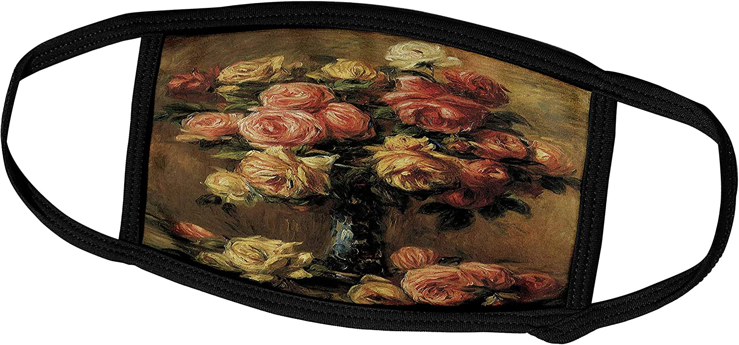 3dRose BLN Flower Paintings Fine Art Collection - Les Roses Dans un Vase by Pierre-Auguste Renoir Flower Still Life - Face Masks (fm_126509_1)