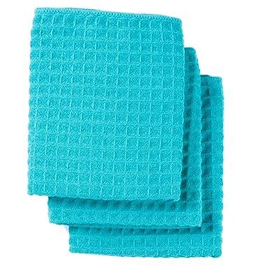 Lifaith Microfiber Thick Waffle Weave Kitchen Towels Dish Cloth 3 Pack 16inch X 19inch Aqua