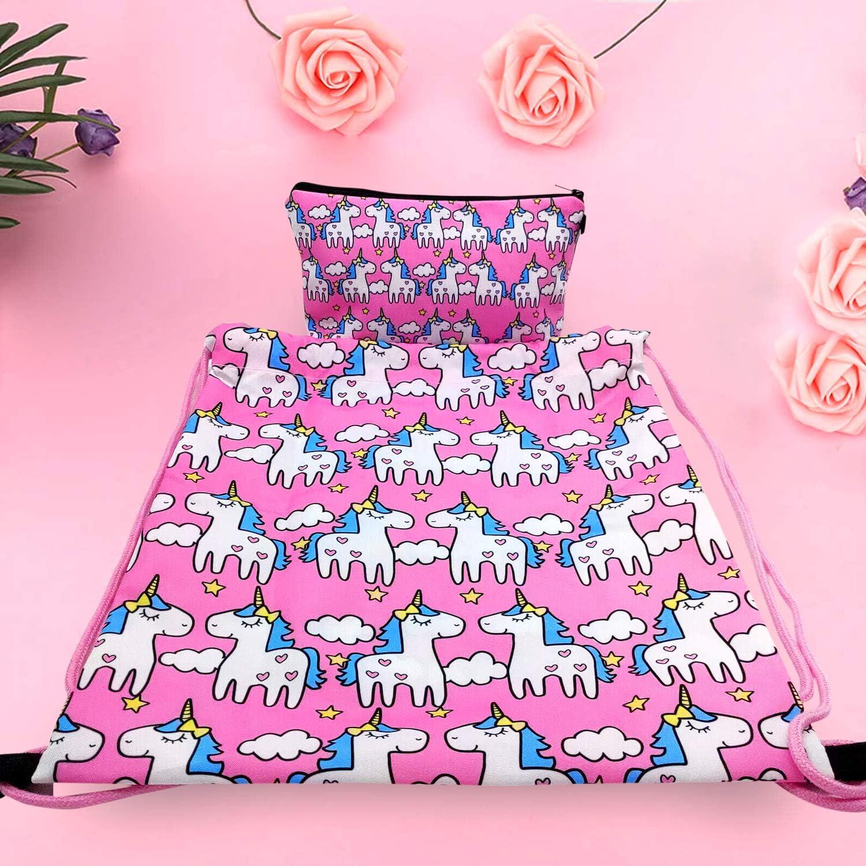 Unicorno Regali per Ragazze,RLGPBON Zaino Unicorno con Coulisse,Borsa per Make up,Unicorno Collana con catena in lega,Bracciale unicorno//Fascette per capelli