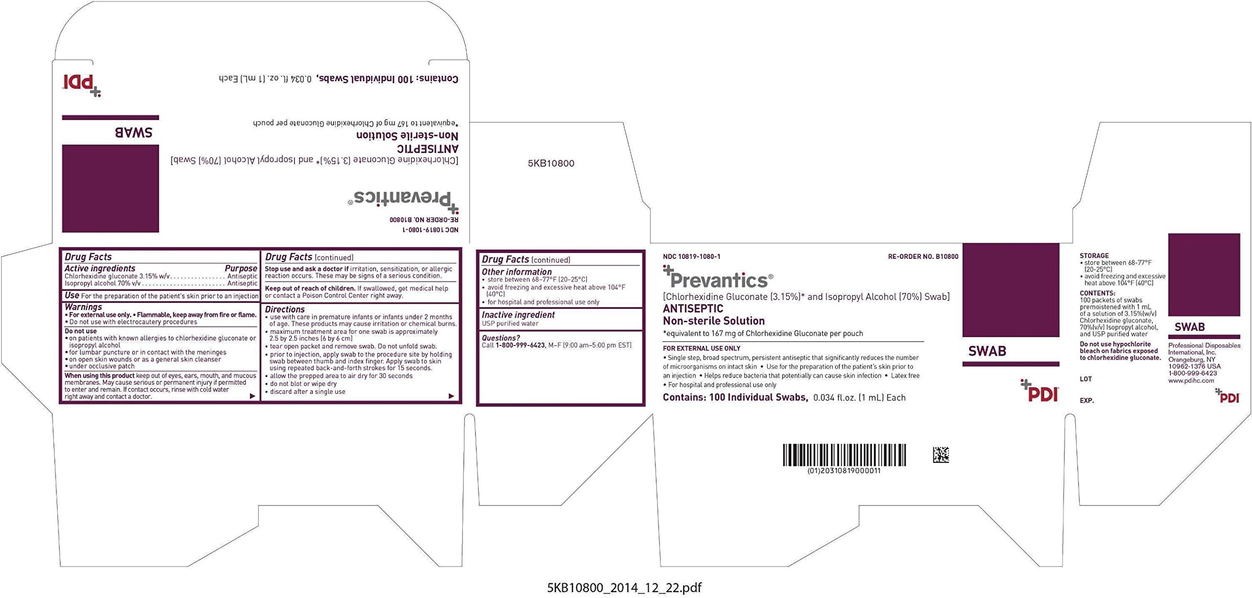 Prevantics Alcohol Prep Pads/Swabs (FKA Chlorascrub) Model: NPKB10800- Case of 1000 (10 Boxes of 100)