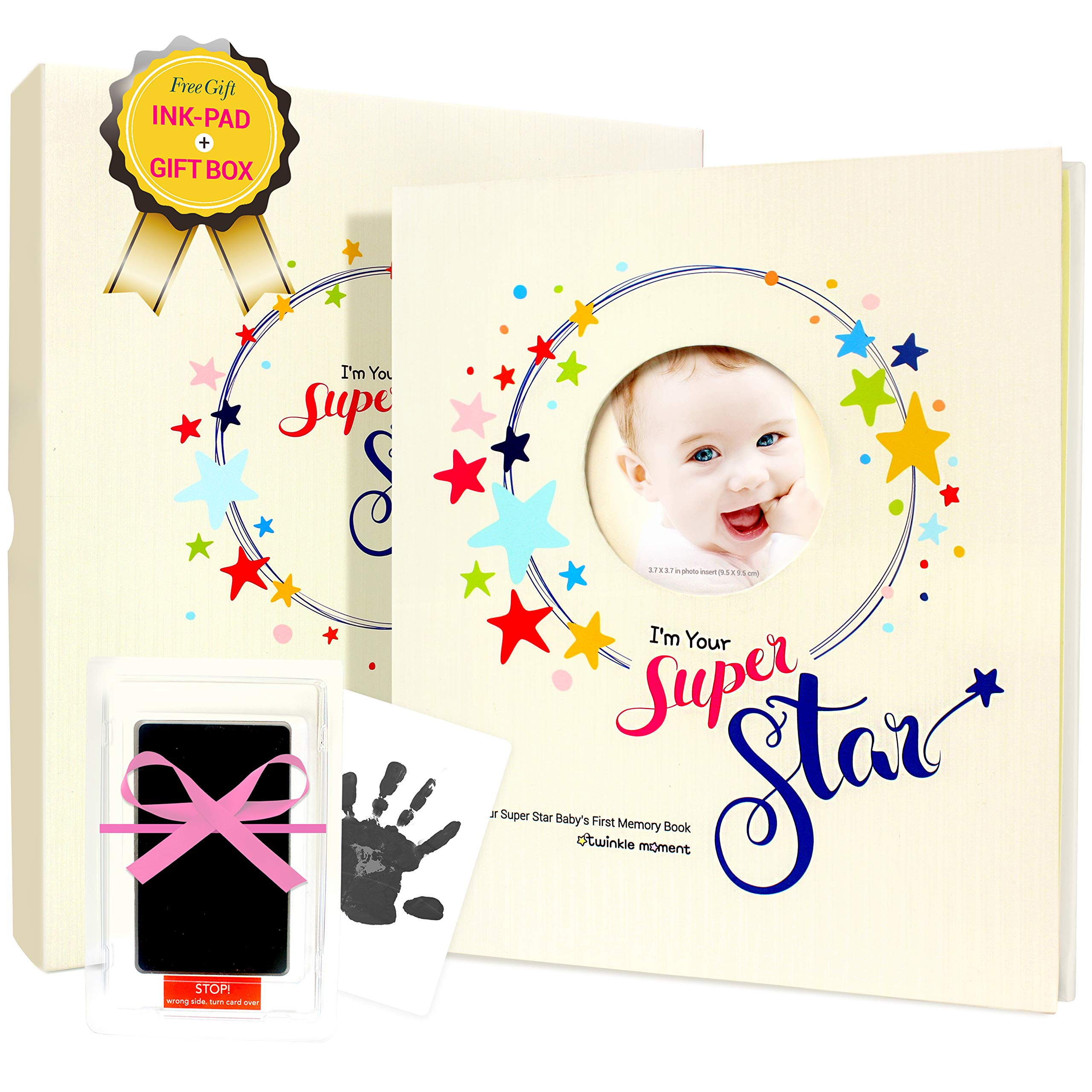 2019 New First-Five Year Baby Memory Book +Ink pad Set- Record Monthly Milestone Books Newborn Girl, boy Babys & Gifts for Baby Shower, mom dad All Family- 4X6 Photo Cute Album Journal Twinkle Moment