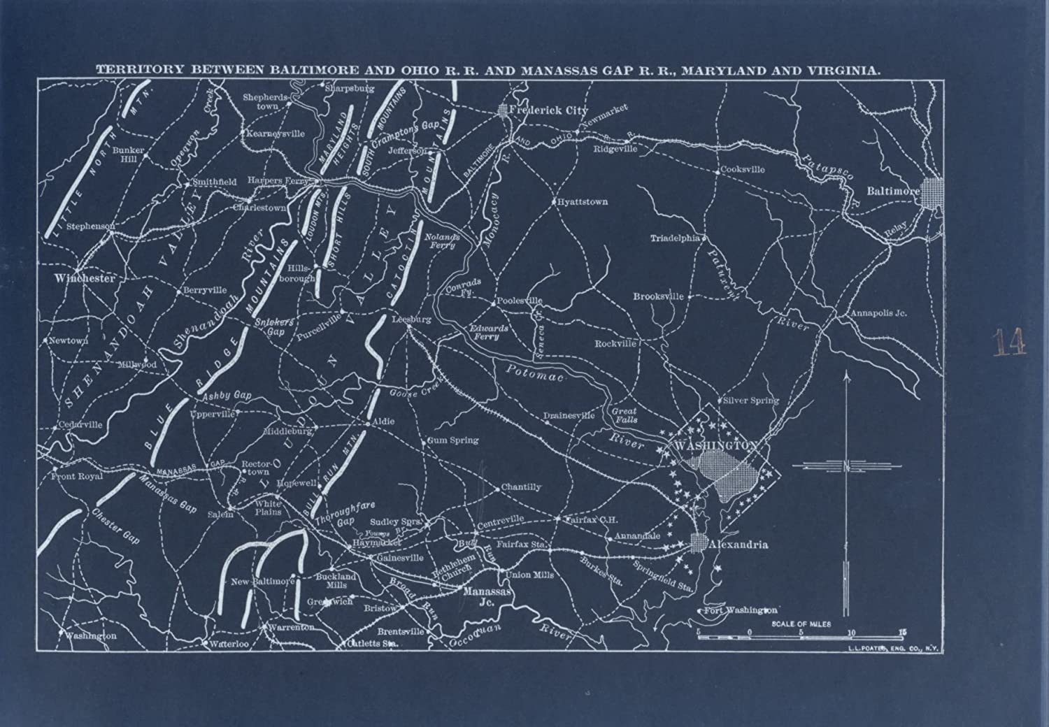 Amazon Com Vintography 18 X 24 Blueprint Style Reproduced Old Map