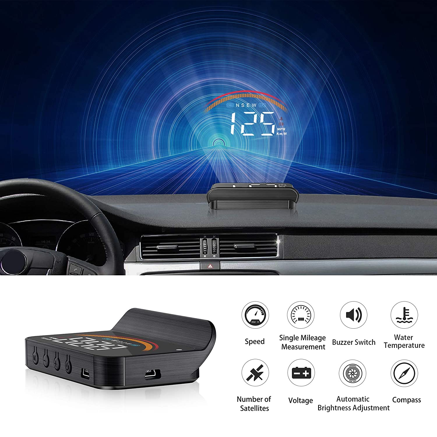 Widerlife Upgrade Version Car Universal Dual System HUD Head Up Display OBD II GPS Interface,Vehicle Speed MPH KM h,Engine RPM,OverSpeed Warning,Mileage Measurement,Water Temperature,Voltage,Compass