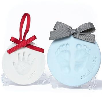 amazon com baby leon footprint ornament kit white blue clay
