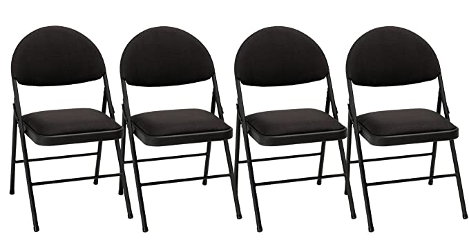 Cosco XL Comfort Folding Chair Black Fabric (4 Pack): Amazon.ca: Home U0026  Kitchen