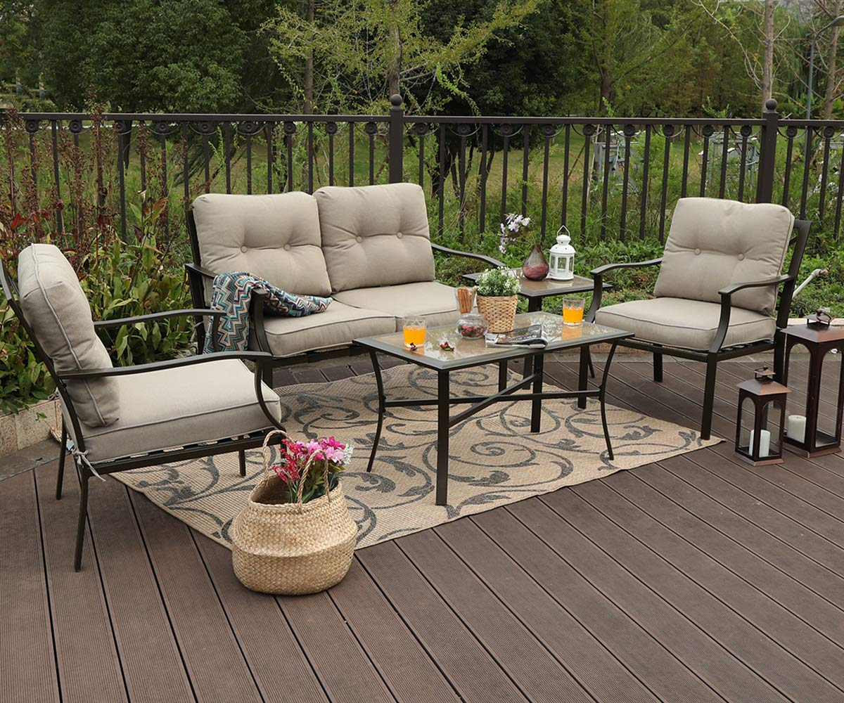 Amazon com phi villa 5 pc patio cushioned conversation set sofa setoutdoor furniture set 5 pc set garden outdoor
