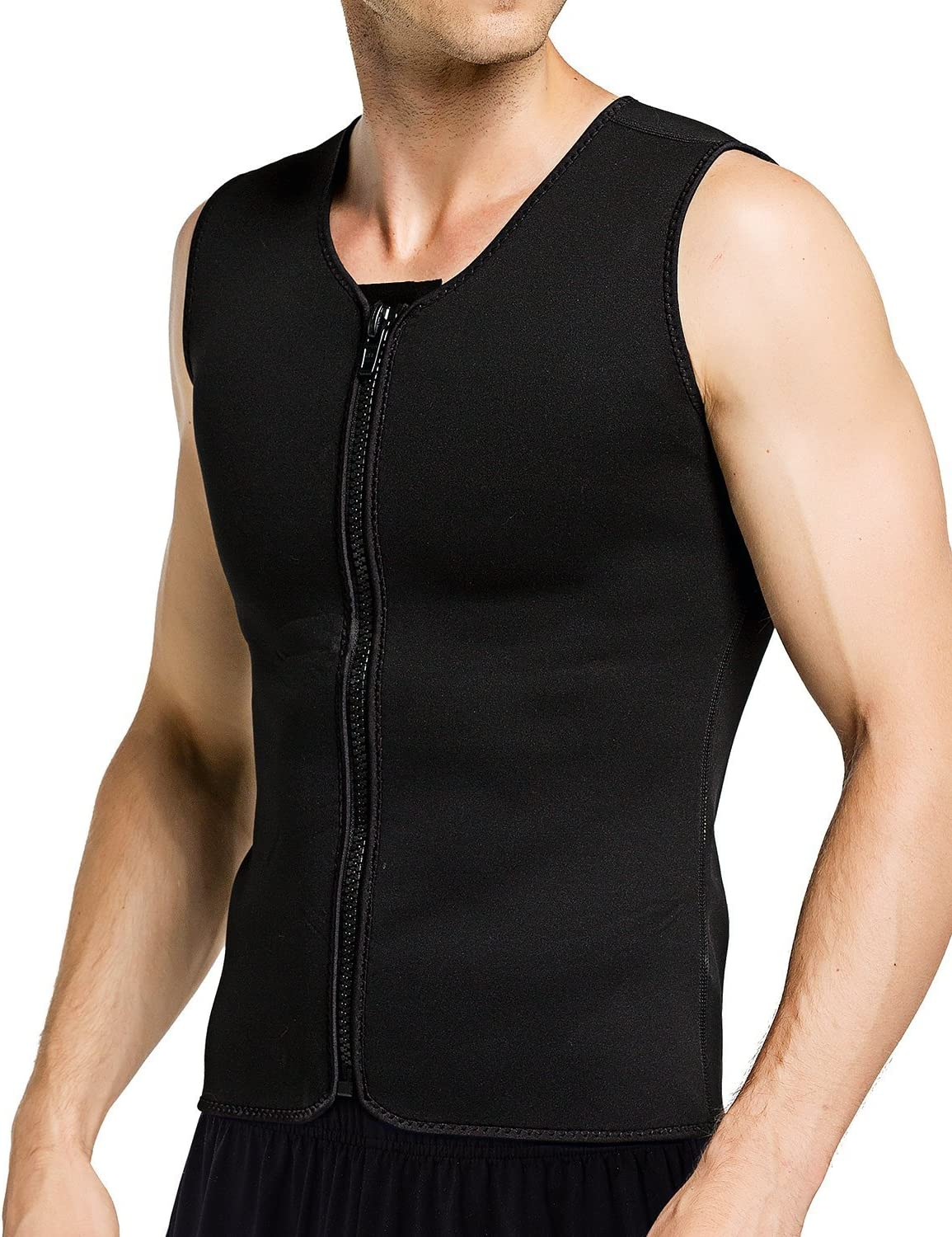 Aliver Men Hot Sweat Body Shaper Belly Fat Burner Neoprene Waist Trainer Vest Sauna Suit with Zipper for Weight Loss Gym Workout Tank Top Shirt