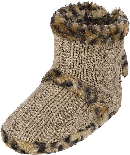 WOMENS GIRLS WINTER WARM FURRY POM POM SLIPPERS BOOTS BEIGE SIZE 3 4 5 6 7 8 NEW