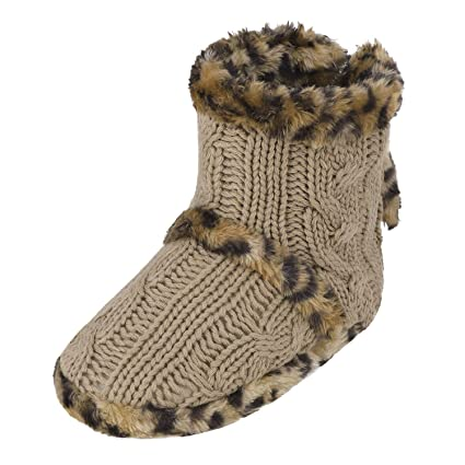 7ac85f10f JIAHG Women Ladies Indoor Slipper Boots with Pom Poms Soft Yarn Cable Knit  Bootie Slippers Winter
