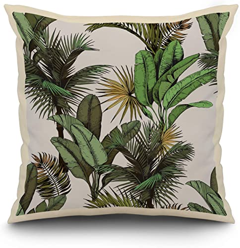 Green Tropical Palm Banana Leaves Pattern A-9009654 20×20 Spun Polyester Pillow, White Border