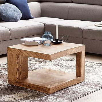 FineBuy Massiver Couchtisch PATAN 60 X 60 X 40 Cm Akazie Massivholz Tisch |  Wohnzimmertisch Quadratisch