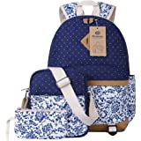 Canvas Backpack School Bags Set for Teens Girls, Casual Daypack + Shoulder Bag + Pencil Case (Blue)