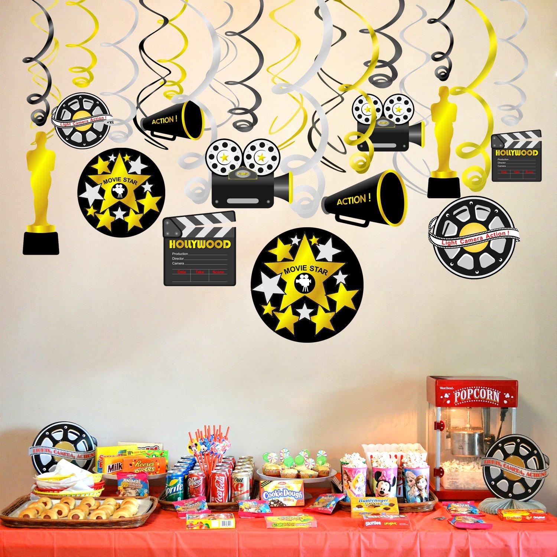 Konsait Colgante Decoraciones de Hollywood Fiesta película Remolino serpentinas Adornos de espirales decoración para Hollywood Oscars película Fiesta ...