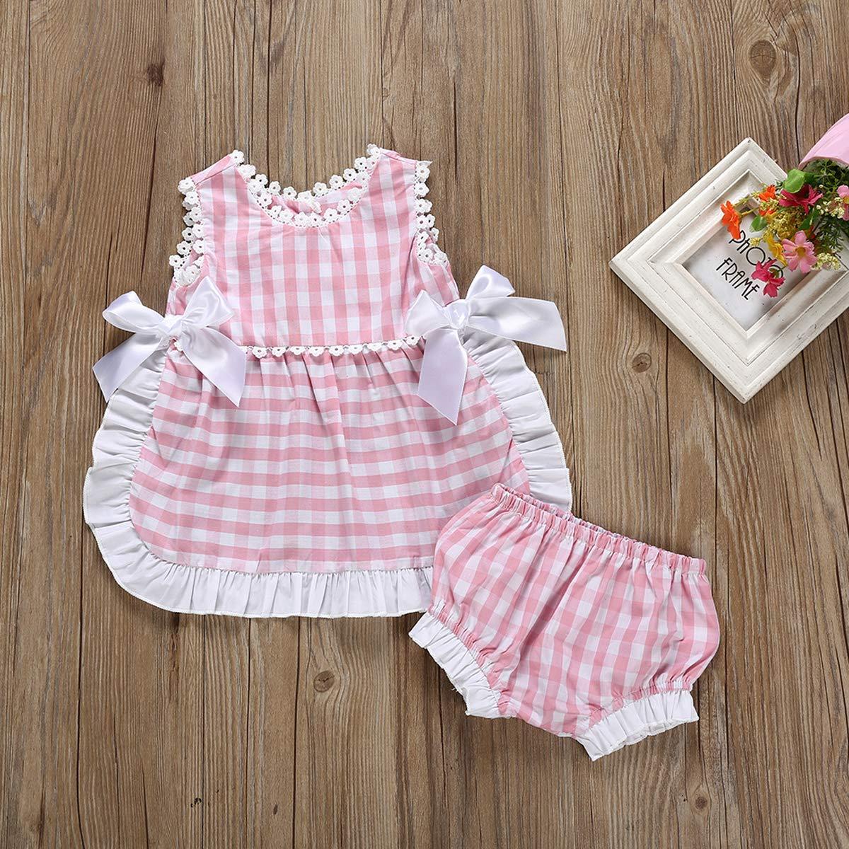 Baby Girl Plaid Sleeveless Backless Bowknot Shirt Dress Ruffle Shorts Clothes Set
