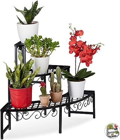 Relaxdays Escalier Fleurs Demi-Rond étagère Plantes Demi ...
