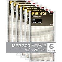 Filtrete 10x20x1, AC Furnace Air Filter, MPR 300, Clean Living Basic Dust, 6-Pack (exact dimensions 9.81 x 19.81 x 0.81)