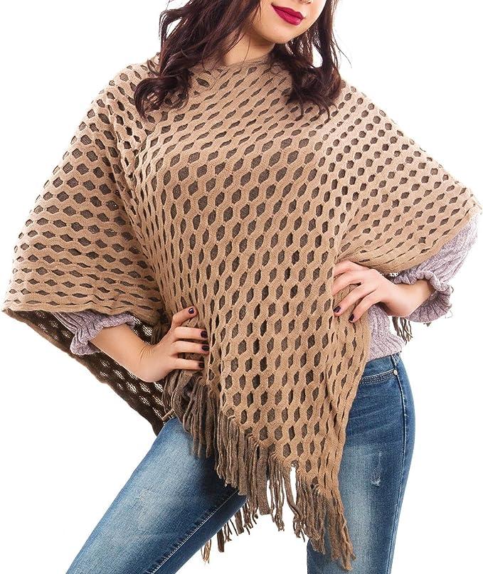 Poncho donna coprispalle mantella tricot maglia caldo scialle nuovo KK3062