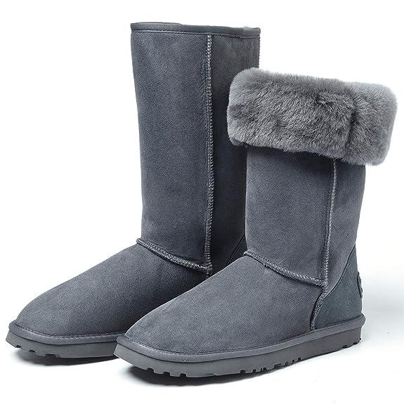 Caña Alta Nieve Zapatos Piel Con Invierno Shenduo De Botas 8ZPNOX0wkn