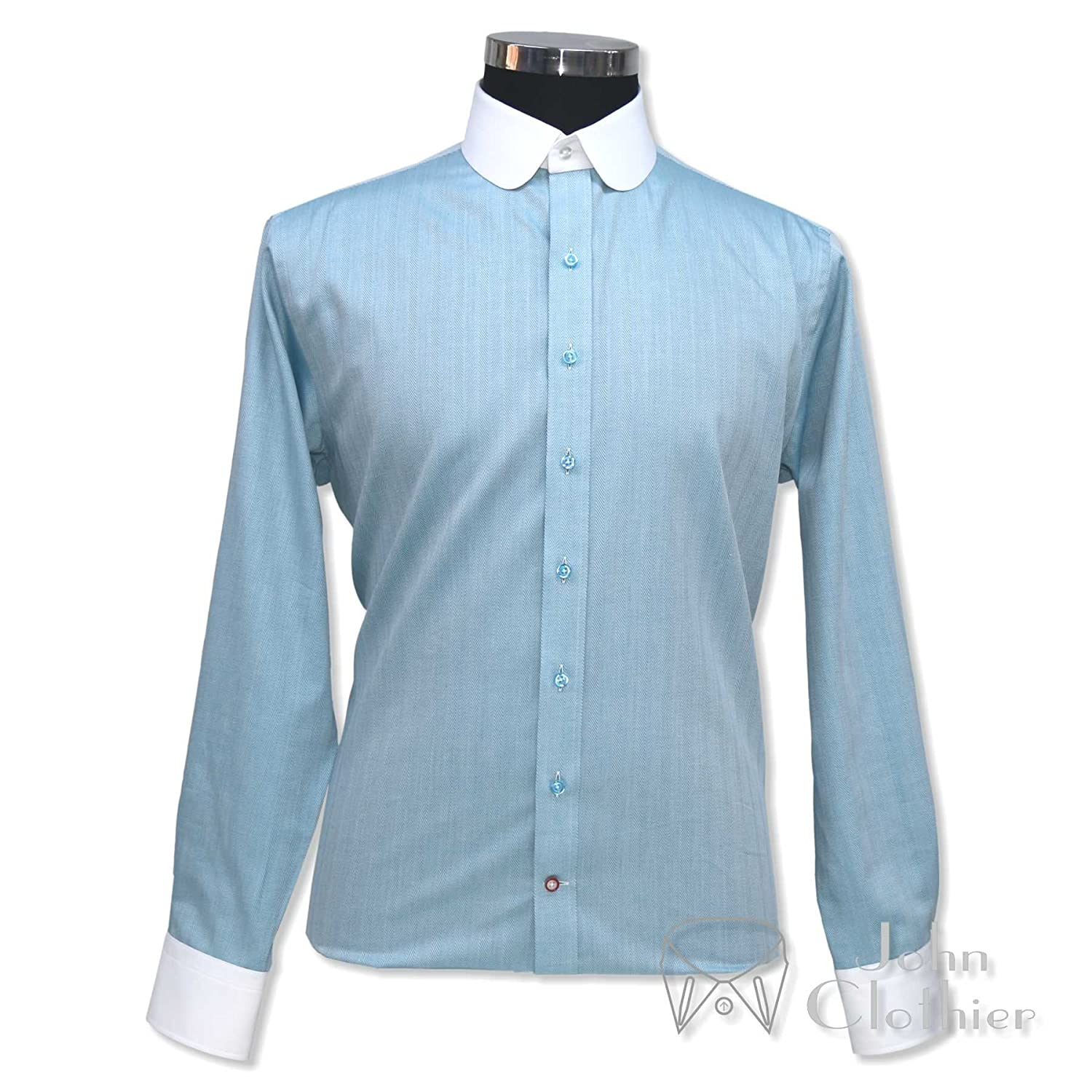 Men's Vintage Christmas Gift Ideas WhitePilotShirts Round Collar Peaky Blinders Mens Bankers Shirt Sea Blue Herringbone 100% Cotton Penny Collar Gents 100-26 $99.99 AT vintagedancer.com