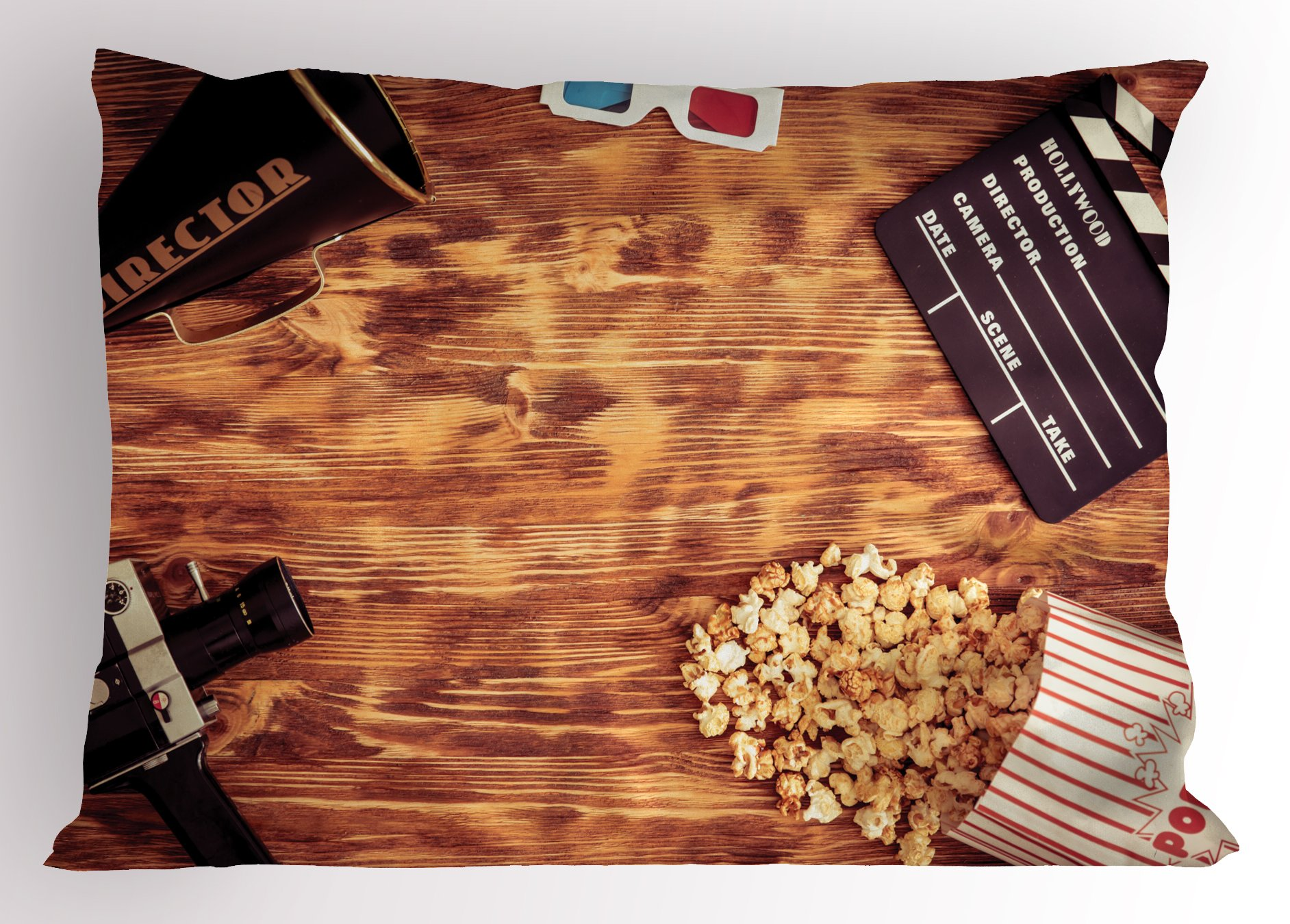 Ambesonne Movie Theater Pillow Sham, Retro Cinema Objects on a Wooden Table Top View Analog Vintage Technology, Decorative Standard Queen Size Printed Pillowcase, 30 X 20 inches, Multicolor