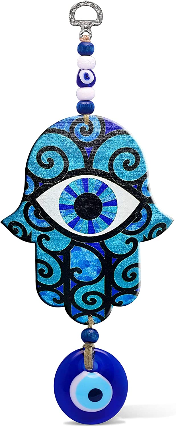 Blue Good Luck Hamsa Hand Home Blessing Wall Hanging Decor Evil Eye Protection Amulet