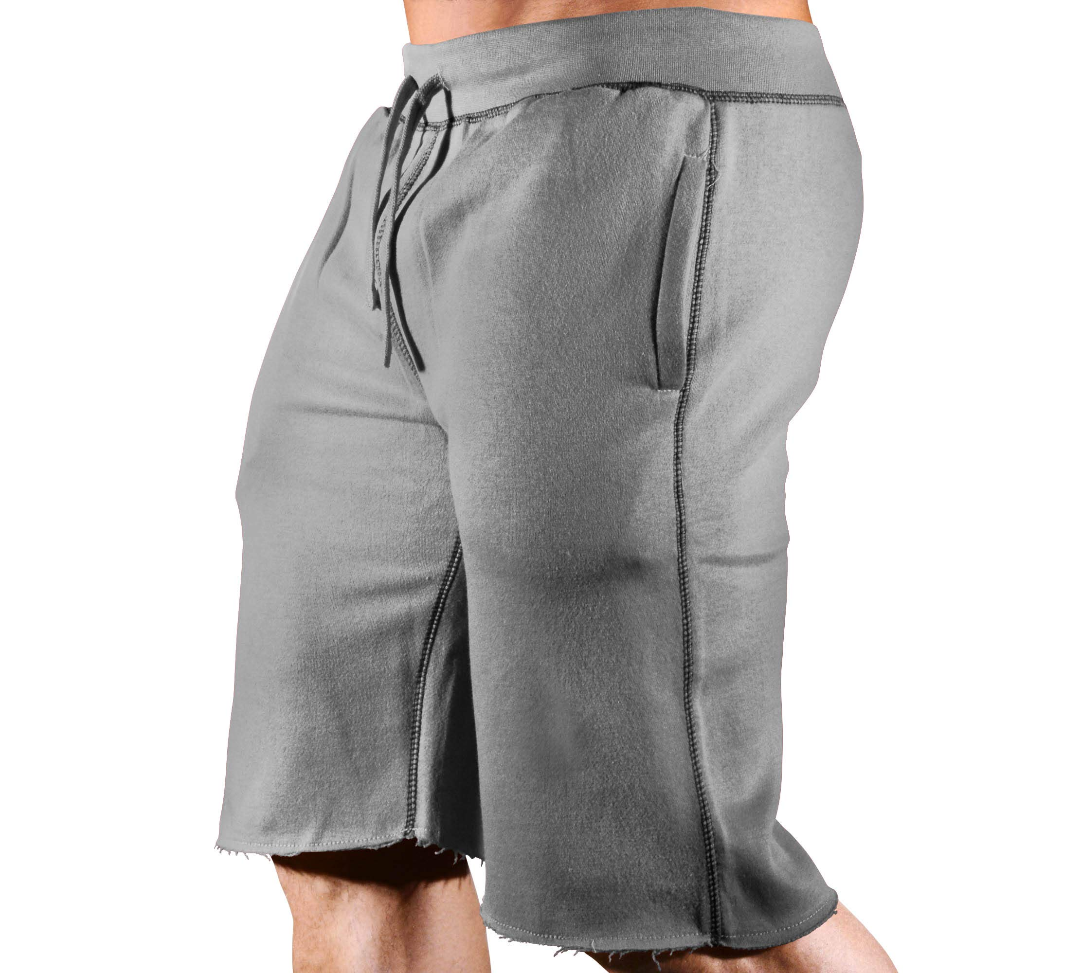HRD LVN Mens Workout Shorts Classic (X-Large, Charcoal & Black Sweat Shorts) by Monsta Clothing Co.