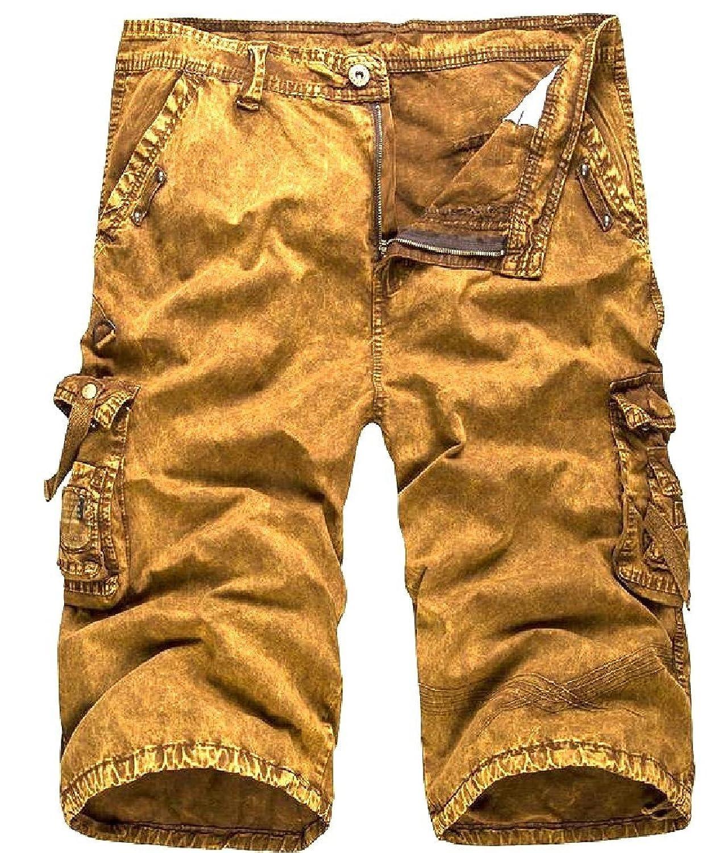 978f3999a6 Abetteric Men's Straight Pockets Cotton Zipper Casual Cargo Shorts