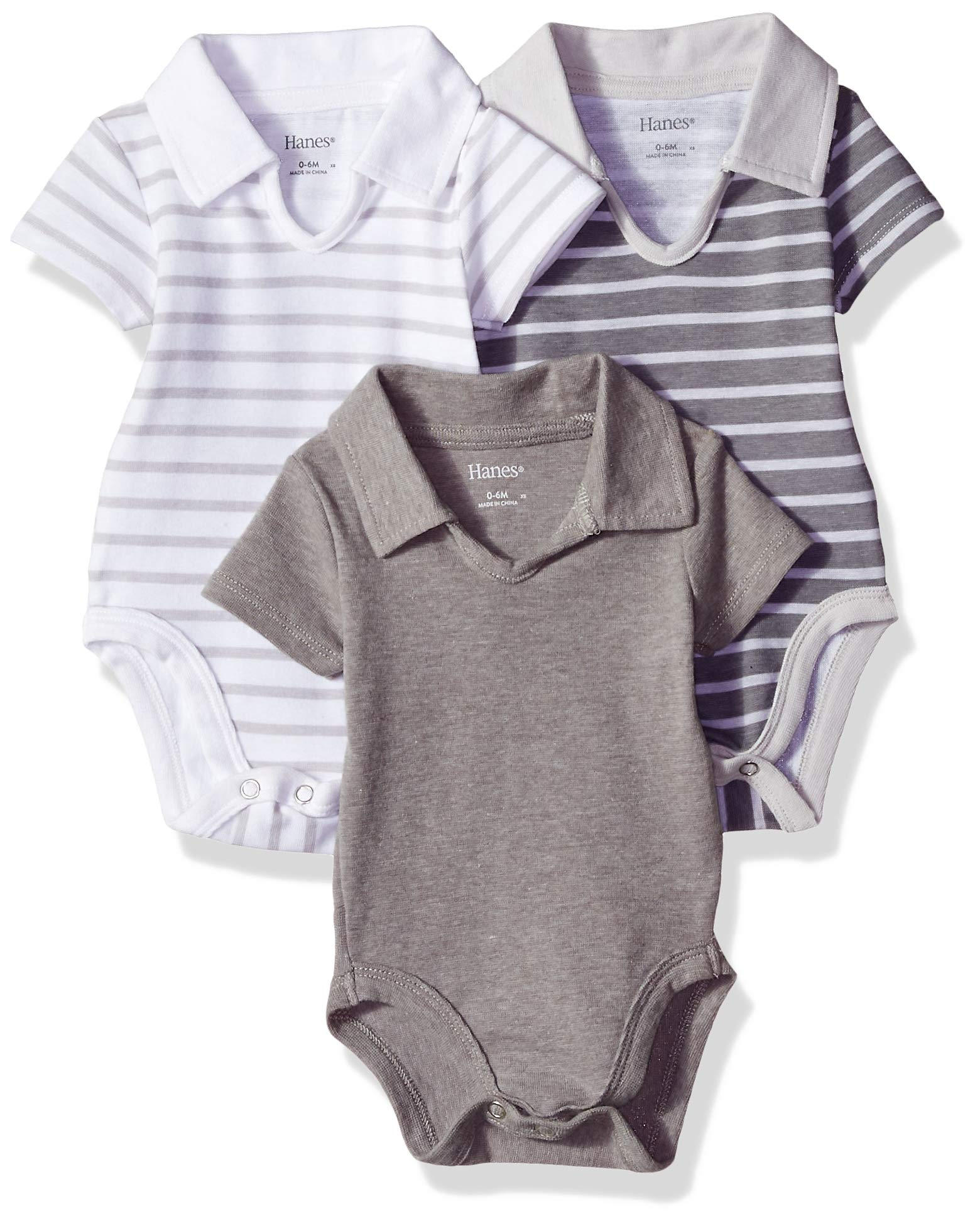 Hanes Ultimate Baby Flexy 3 Pack Short Sleeve Polo Bodysuits, Grey Stripe, 6-12 Months by Hanes