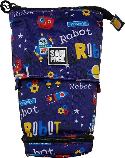 Estuche Escolar Robot Sampack 2 Cremalleras 2 Bolsillos Transformable 12 x 6 x 20 cm: Amazon.es: Oficina y papelería