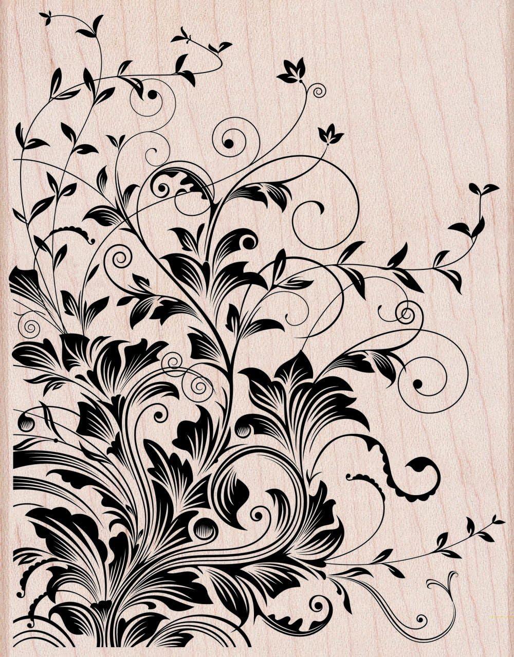 Hero Arts Leafy Vines Woodblock Decorative Stamp