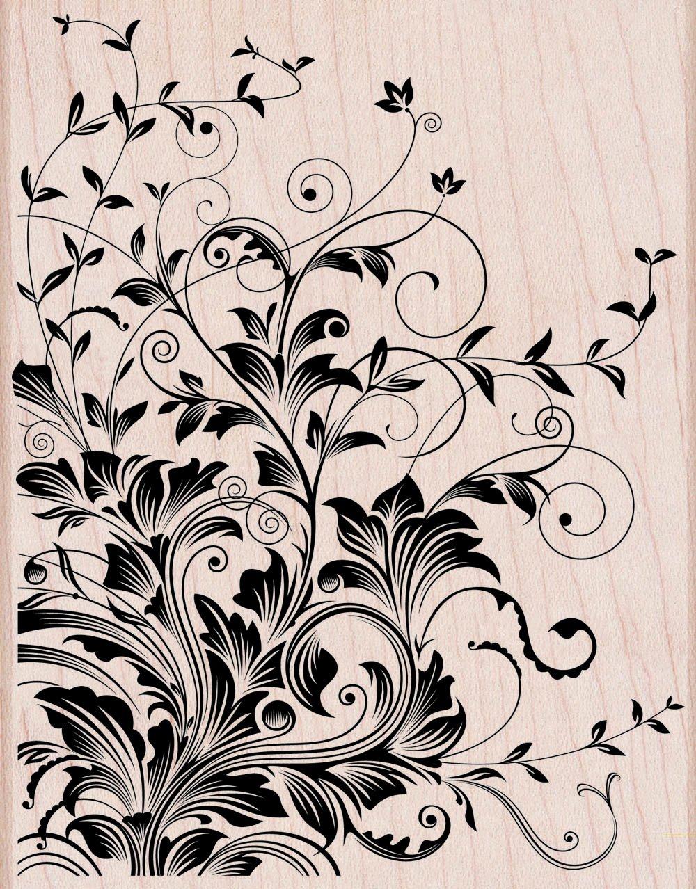 Hero Arts Leafy Vines Woodblock Decorative Stamp by Hero Arts