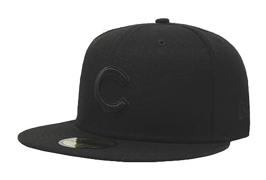 63f2119ea70 New Era 59Fifty Hat MLB Basic Chicago Cubs Black Black Fitted Baseball Cap  (6