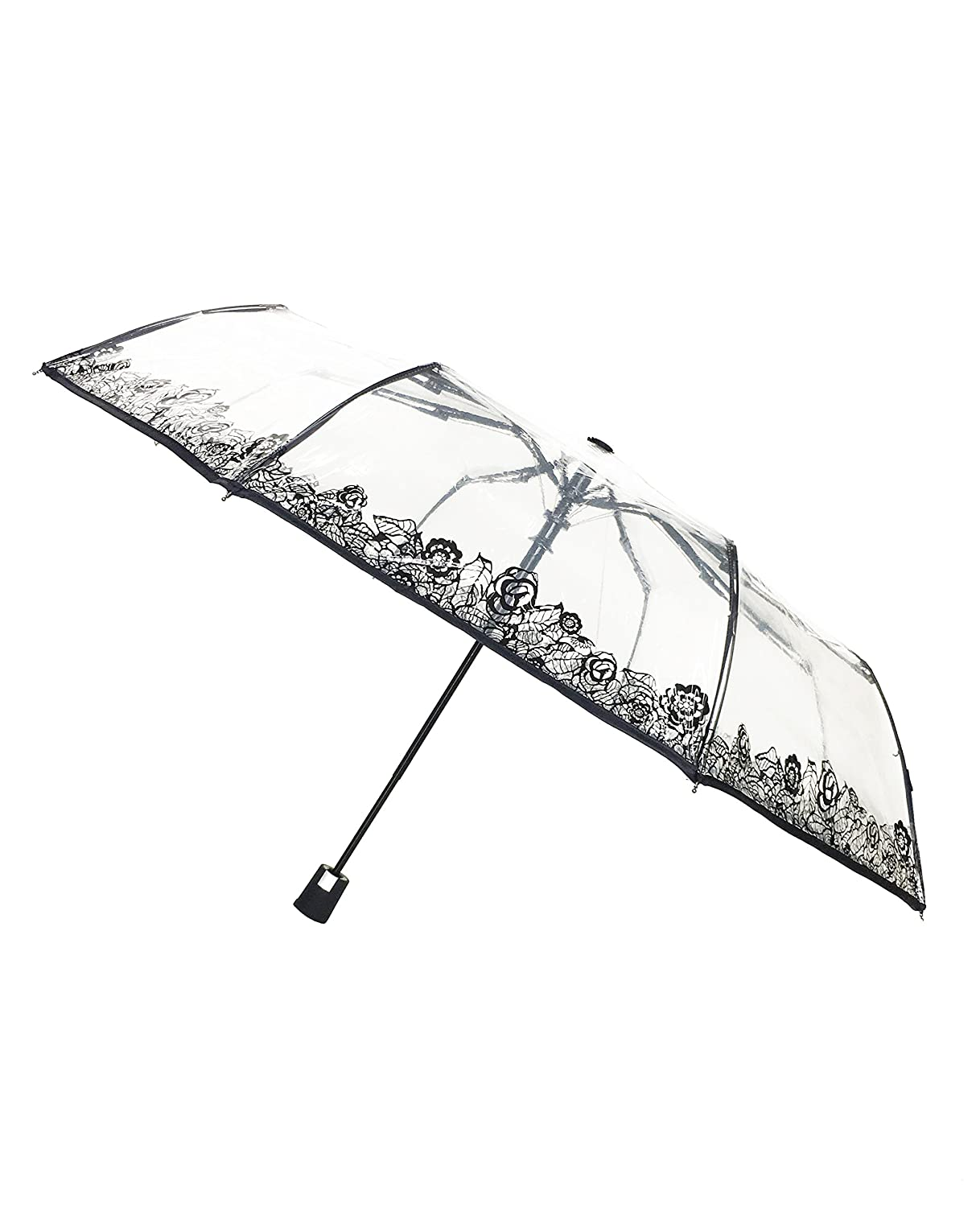 Amazon.com: SMATI Clear Folding Umbrella - Compact - Automatic Open - Sturdy - Flowers (lace) - French Design: Clothing