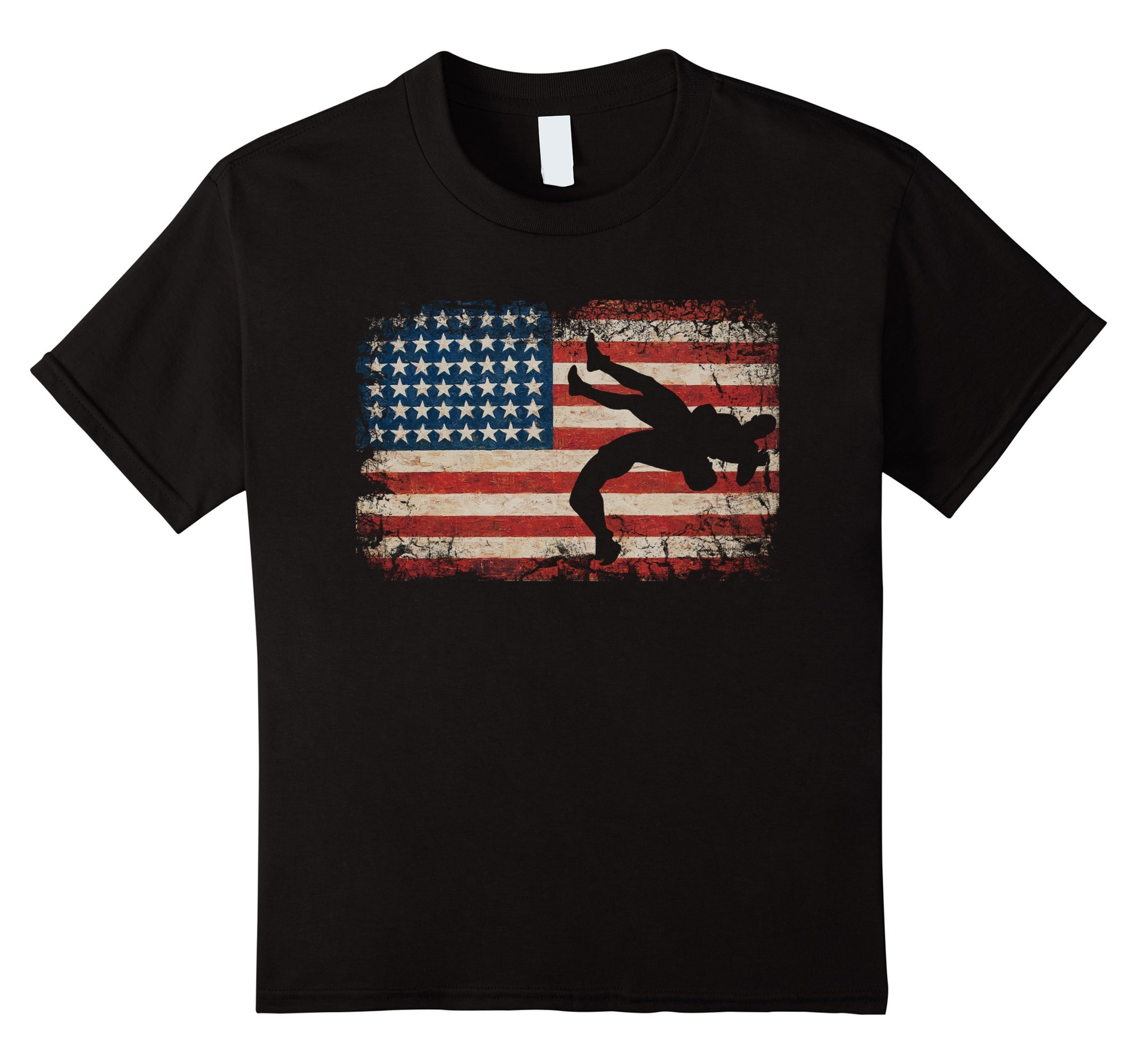 Kids Wrestling Shirt American Flag Gift for Wrestler 12 Black by Usa Wrestling shirt apparel