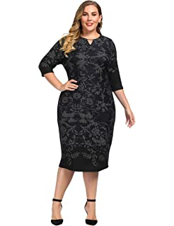 f5d62b1be46 Chicwe Women s Plus Size Cashmere Touch Shift Dress with Keyhole Neck and  Metal Trim - Knee