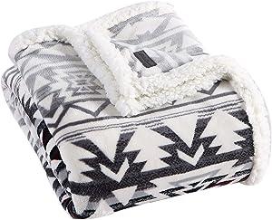 Eddie Bauer Collection   Throw Blanket-Reversible Sherpa Fleece, Ultra Plush & Luxuriously Warm, Machine Washable, Clyde Hill Stripe