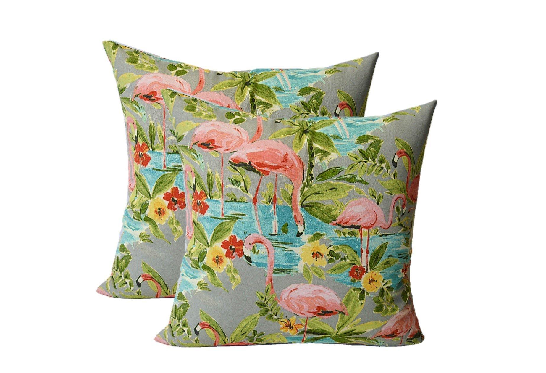 Set of 2 - Indoor / Outdoor Square Decorative Throw / Toss Pillows - Waverly Elegant Tropical Platinum Flamingo - Grey, Aqua, Green, Coral - Choose Size (17'')