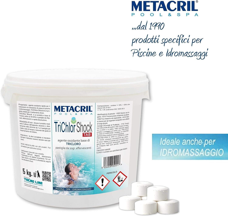 Metacril trichlor Shock Tab kg.–Cloro tricloro Efervescente rápido en Past. de 20G para Piscina y de hidromasaje (Jacuzzi, teuco dimhora, Index, Bestway, etc.) Envío inmediata