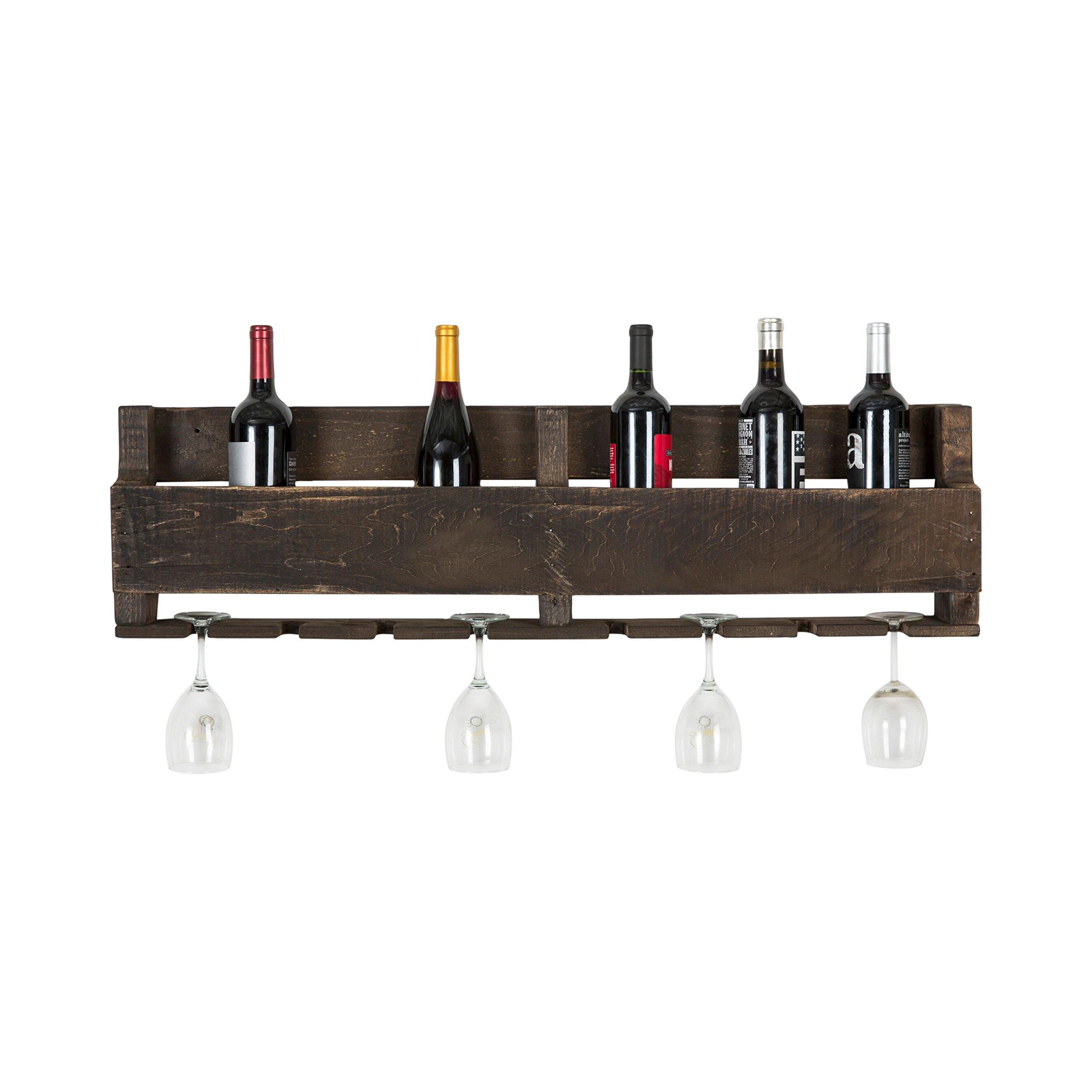 del Hutson Designs - The Olivia Wine Rack, USA Handmade Reclaimed Wood, Wall Mounted, 8 Bottle 8 Long Stem Glass Holder