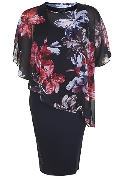 Doris Streich Damen Jerseykleid mit Blumen-Überwurf Weite Ärmel  Amazon.de   Bekleidung 03f1589477