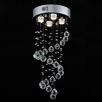 Lámpara de araña de lluvia espiral de cristal Iluminación LED Luces colgantes con 4 luces, D30 X H66 Montaje empotrado LED Lámpara de techo Lámpara colgante escalera de cristal para dormitorio: Amazon.es: