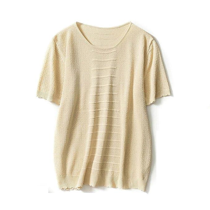 BoBoLily Camisetas Mujer Basicas Manga Corta Cuello Redondo Knit Shirts Camisas Mujer Verano Fashion Ocasional Anchos Elegantes Unicolor Tops Blusas ...