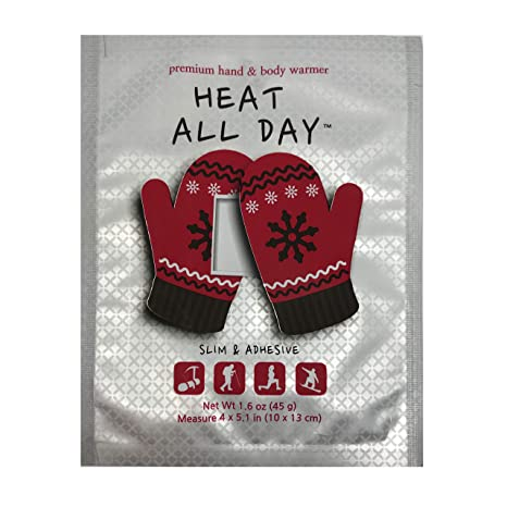 Heat All Day Hand Warmers - Lasts 12 Hours at Max Temp 129F - Adhesive Slim