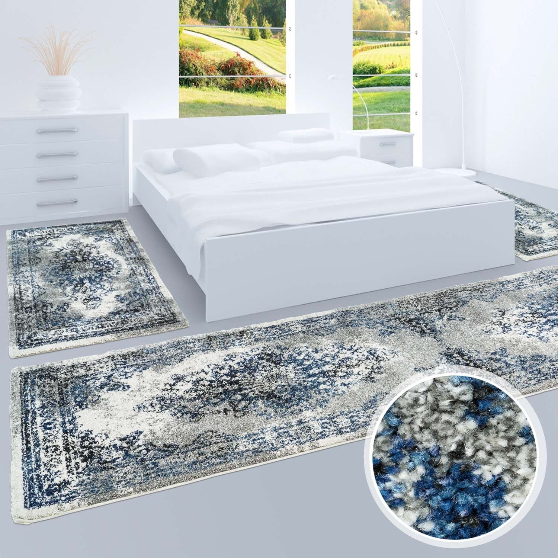 Bettumrandung, Teppich-Läufer Flachflor mit Klassischen Design, Blau Ornamenten-Muster in Grau Blau Design, für Schlafzimmer, 3-teilig, Läufer-Größen  2x 80x150 cm, 1x 80x300 cm 6fd291