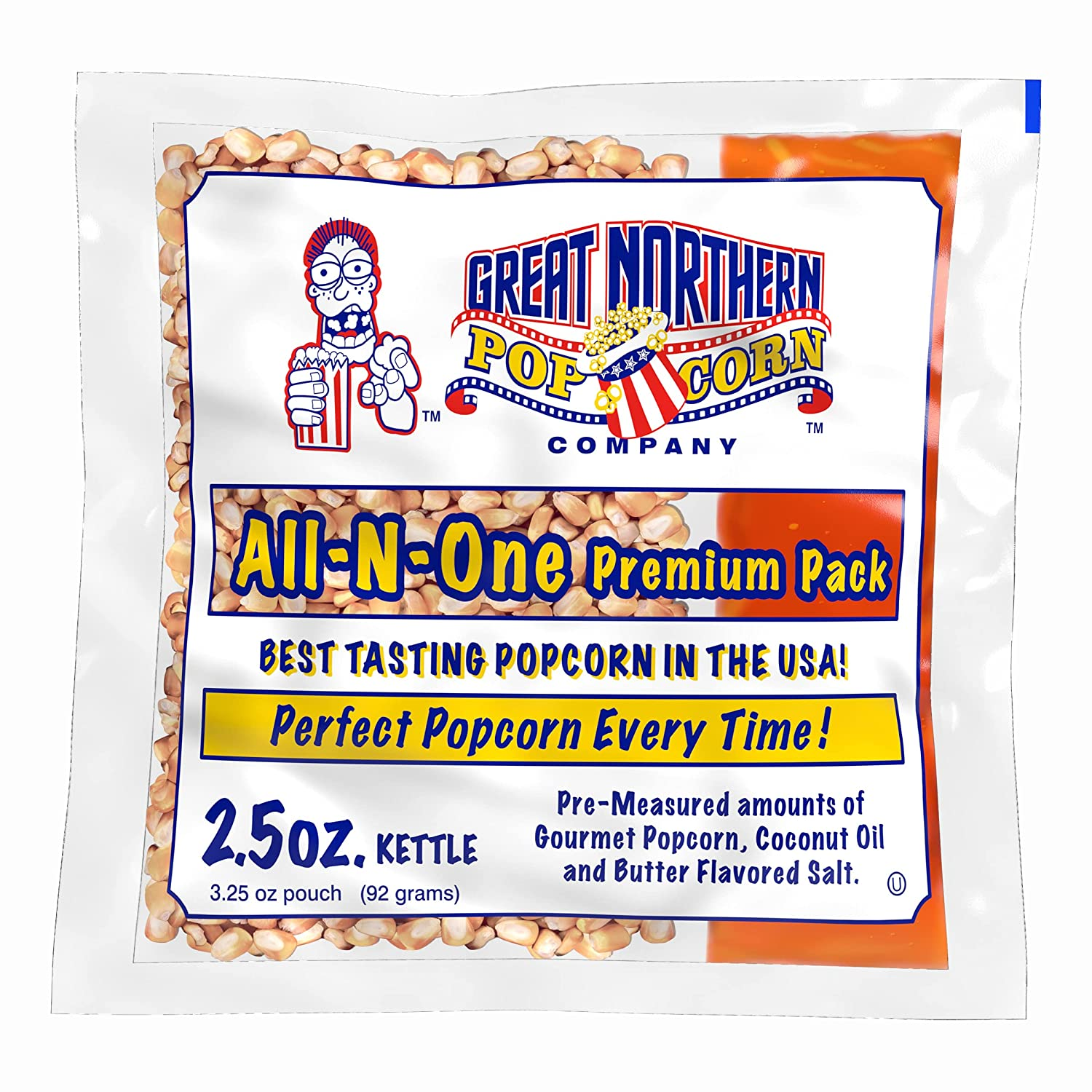 Great Northern Popcorn Company 2.5 oz Popcorn Pack – Pre-Measured, Movie Theater Style, All-in-One Kernel, Salt, Oil Packets for Popcorn Machines by Great Northern Popcorn Company (40 Case)