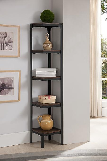 Kings Brand Furniture 5 Tier Antique Finish Corner Bookshelf Bookcase