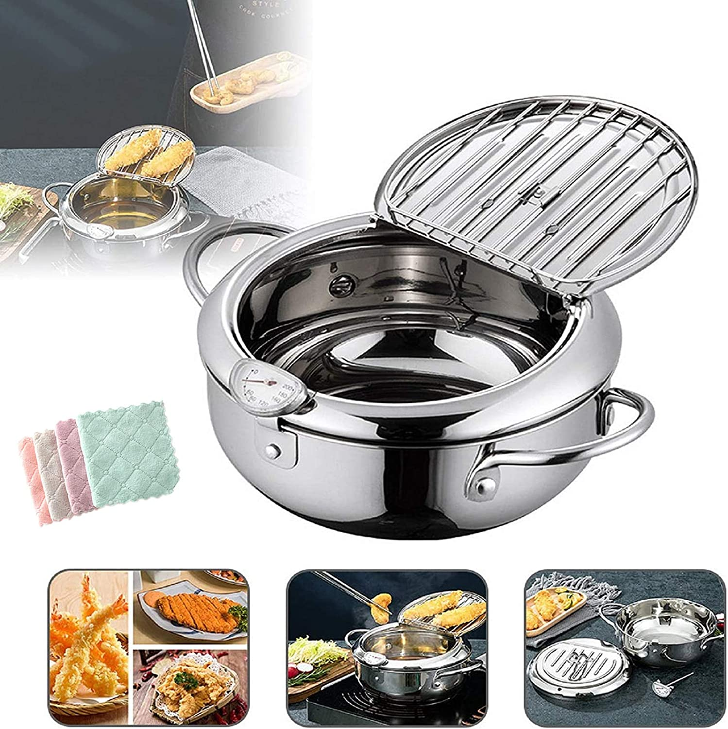 Deep Frying Pan,Japanese Style Tempura Fryer Pot,Mini Deep Fry Pan with Drainer,Non-stick coating Frying Pan with Thermometer,Lid And Oil Drip Drainer Rack for Kitchen Cooking 20cm/304