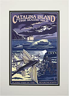 product image for Catalina Island, California - Flying Fish (11x14 Double-Matted Art Print, Wall Decor Ready to Frame)