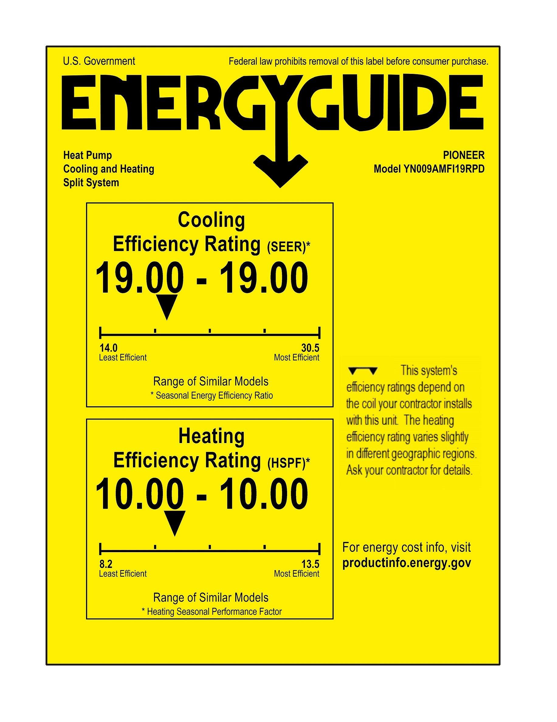 PIONEER Air Conditioner Pioneer Mini Split Minisplit Heatpump 9000 BTU-110/120 V 8 <p>Ultra high efficiency inverter+ ductless mini split heat pump system Cooling capacity: 9, 000 BTU/H with 17.0 SEER efficiency Heating capacity: 9, 500 BTU/H with 9.0 hspf efficiency Voltage: 110~120 VAC, 60 hertz (standard household power, l-n-g) Please see the active links on this page for full specks, manuals, etc</p>